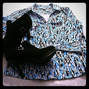 Bright blue, black and white print blouse
